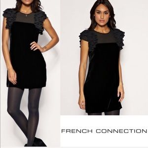 FRENCH CONNECTION Black Velvet and ruffle dress